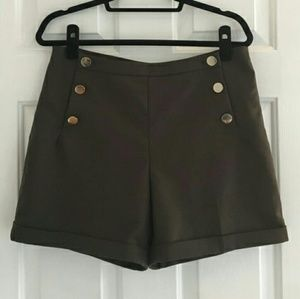 H&M Sage sailor shorts with front buttons.